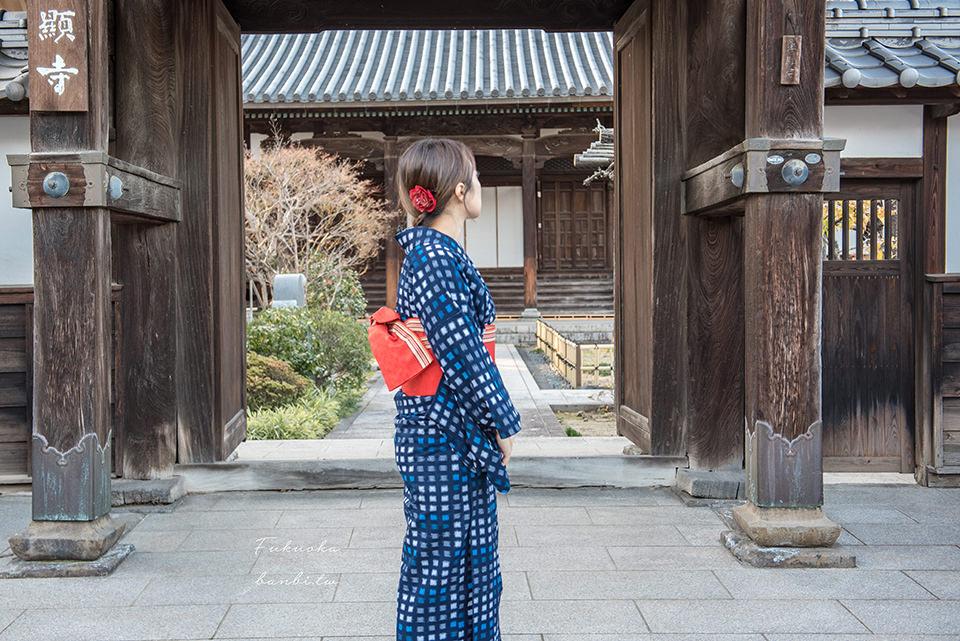 福岡和服推薦:別處沒有的久留米絣!穿上復古文青味的藍色織布和服散步