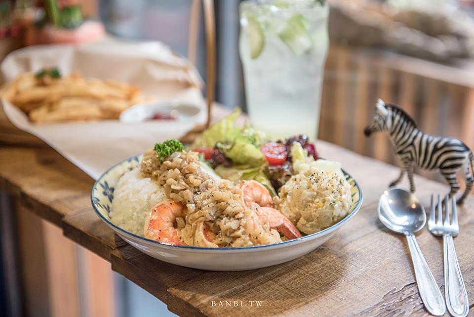 台北信義市府美食:HI5 Cafe好吃夏威夷蝦飯、家常料理,不限時咖啡館、推薦聊天聚餐開會